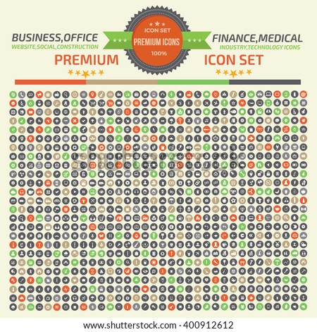Big icon set,Business,Construction,Website,Database,Network,Healthy care icons,clean vector - stock vector