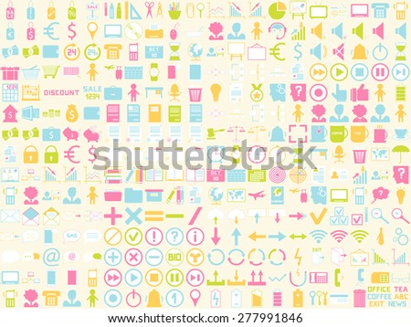 Big icon set - office, document, symbol, communication, sale, business and infographic elements. For infographics, presentation, cards and backgrounds. Vector illustration. - stock vector