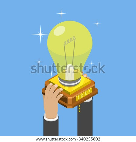 Big idea isometric flat vector concept. Mans hands take a trophy cup that looks like a lightbulb on pedestal.  - stock vector