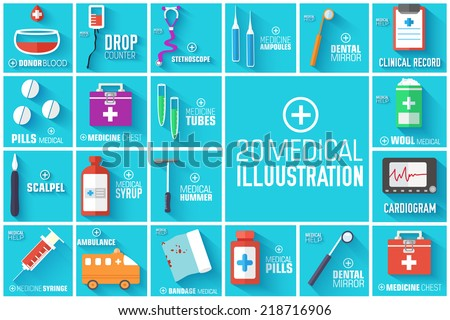 big illustration collection set of medical equpment backgrounds. Vector illustration elements icons. Colorful template for you design, web and mobile applications. - stock vector
