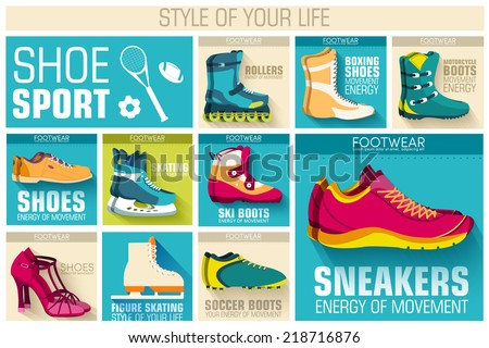 big illustration collection set of sport shoe equpment backgrounds. Vector illustration elements icons. Colorful template for you design, web and mobile applications. - stock vector