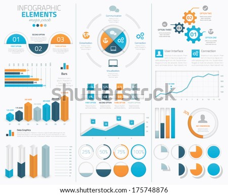 Big infographic vector elements collection to display data - stock vector