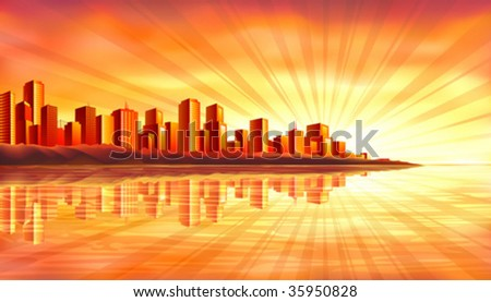 Big island city reflecting in water at sunset (other landscapes are in my gallery) - stock vector