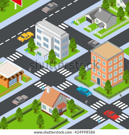 Big isometric set of buildings and houses. Vector illustration