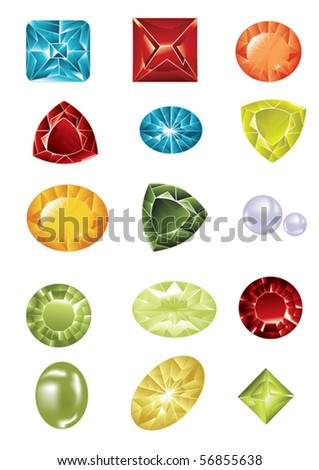 big jewel set - stock vector