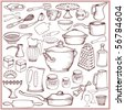 Big kitchen doodle set of ware and accessories - stock vector