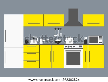 Big kitchen. Modern kitchen interior with kitchen appliances, tables, refrigerator and dishware. Yellow furniture on grey background. Flat style vector illustration.  - stock vector