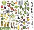 Big kitchen set - stock vector