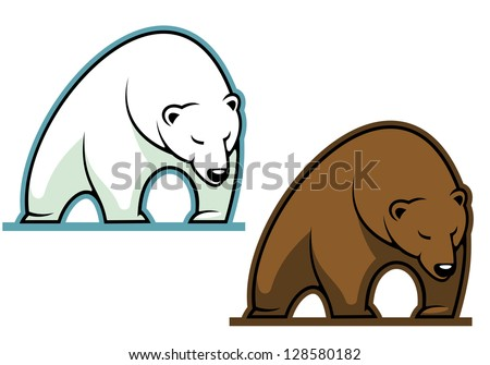 Big kodiak bear in cartoon style for sports mascot, such as idea of logo. Jpeg version also available in gallery - stock vector