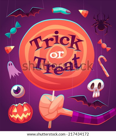 Big lollipop. Halloween poster \ background \ card. Vector illustration. - stock vector