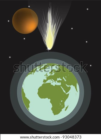 big meteor hits earth - stock vector