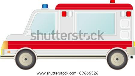 big modern ambulance car isolated on white background - stock vector