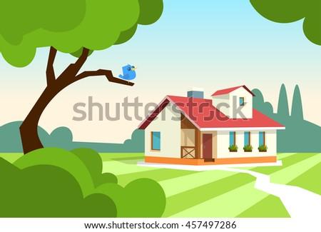 Big Modern House Residence Estate With Garden Flat Vector Illustration - stock vector