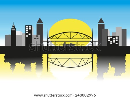 big moon in city silhouette with bridge and night tone sky background - stock vector