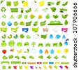 Big Nature And Eco Set With Labels, Isolated On White Background, Vector Illustration - stock vector