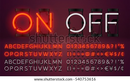 Big neon set glowing alphabet, vector Font. Glowing text effect. On and Off lamp. Neon Numbers and punctuation marks. isolated on red background.