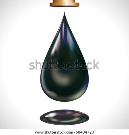 Big oil droplet. Vector. - stock vector