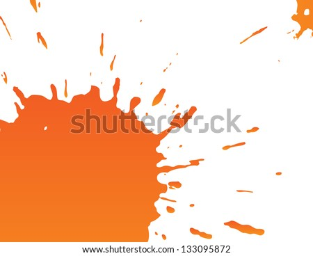Big orange splatter - stock vector