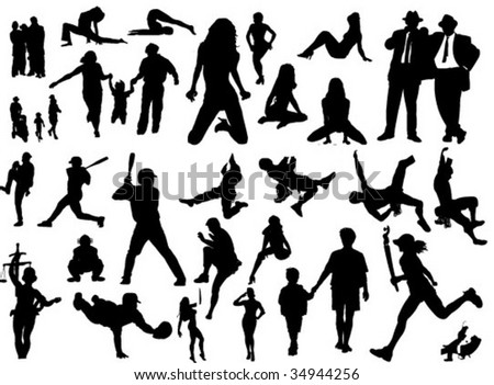 big people silhouettes set with sexy girls and lots of sportsman - stock vector
