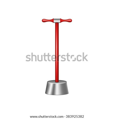 Big pestle with red wooden handle - stock vector