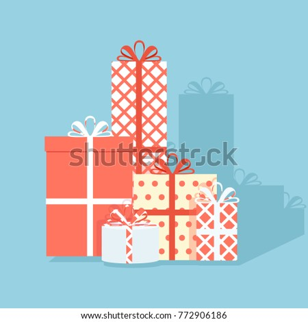 Big pile of colorful wrapped gift boxes. Lots of presents. Flat style vector illustration isolated on blue background.