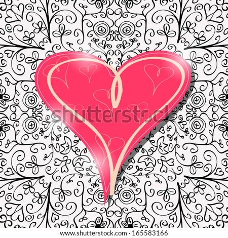 Big Pink Heart Card with Abstract Black Pattern Background. Vector Valentine's Day Illustration - stock vector