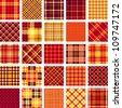 Big plaid pattern set - stock vector