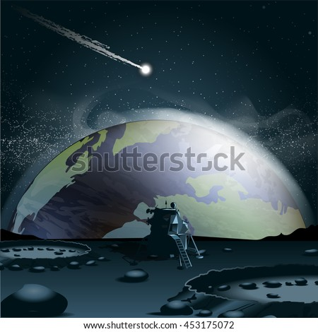 Big planet earth seen from the moon in 3d, over a background full of glowing stars and a falling asteroid or comet. Digital vector image