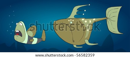 big predator hunting for a small frightened fish - stock vector