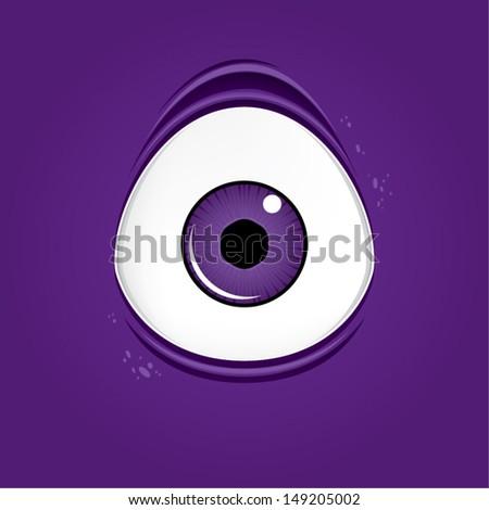 Big purple monster eye, vector illustration  - stock vector