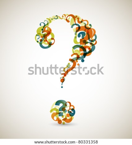 Big question mark made from smaller question marks (retro colors) - stock vector