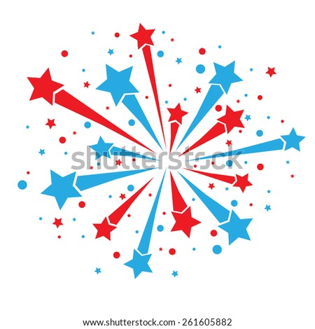 Big red and blue firework on white background. eps10 - stock vector