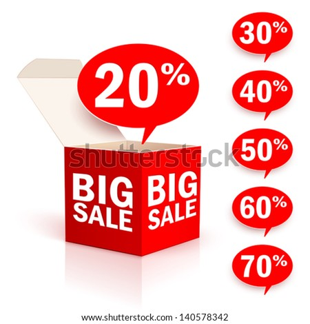 Big red box with discount label - stock vector
