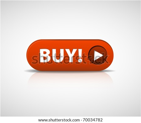 Big red  buy now button with shadow and reflections - stock vector