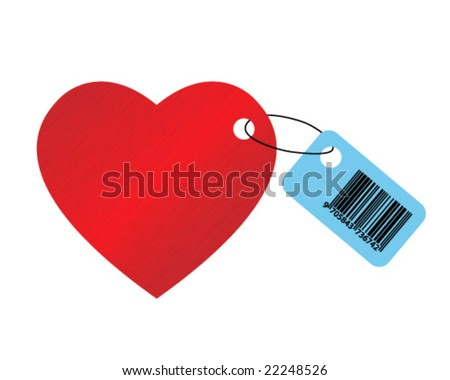 big red dappled heart on white background with ean code - stock vector