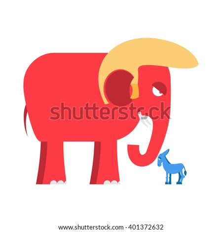 Big Red Elephant and  little blue donkey  symbols of political parties in America. Democrats against Republicans. Opposition to USA policy. Symbol of political debate.  American elections  - stock vector