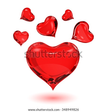 Big red heart and small red hearts on white background with shadow - stock vector
