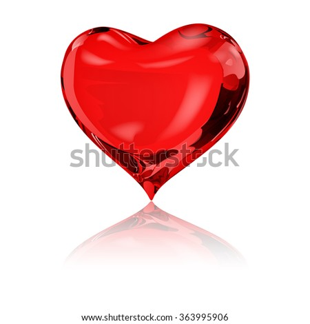 Big red heart on white background with reflection - stock vector