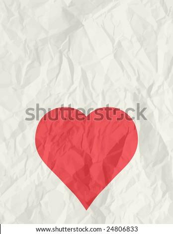big red heart over beige background, vector illustration - stock vector