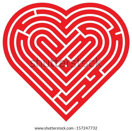 Big red heart showing several intricate paths which compose a complex labyrinth of love - stock vector