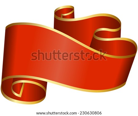 Big red ribbon isolated on white background - stock vector
