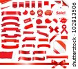 Big Red Ribbons Set, Isolated On White Background, Vector Illustration - stock photo