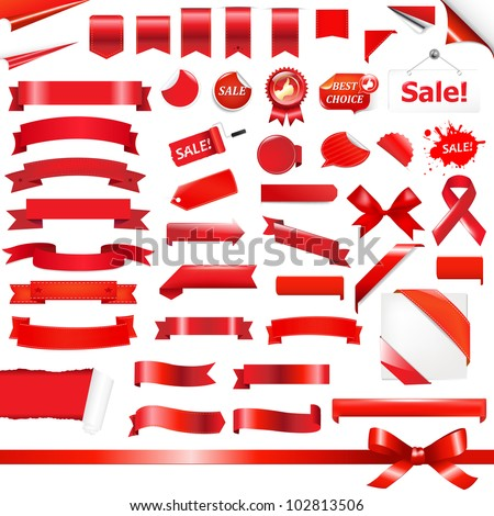 Big Red Ribbons Set, Isolated On White Background, Vector Illustration - stock vector