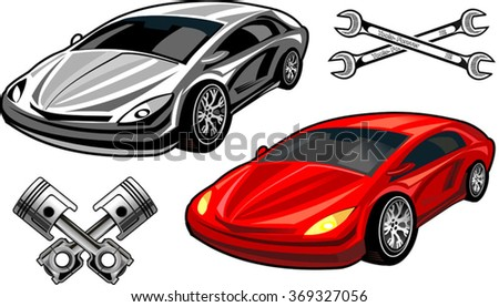 Big red sports car ready to start racing on the track. Original design - stock vector
