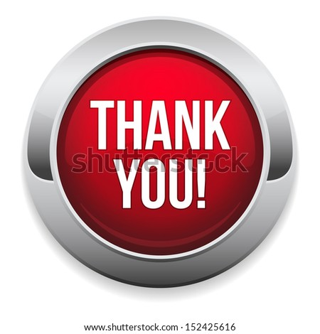 Big red thank you button - stock vector