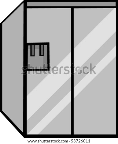 big refrigerator - stock vector
