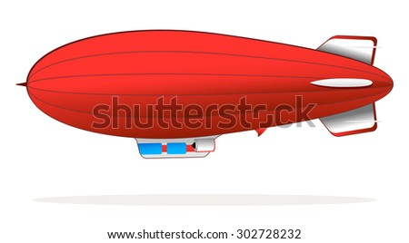 big retro red blimp flying - stock vector