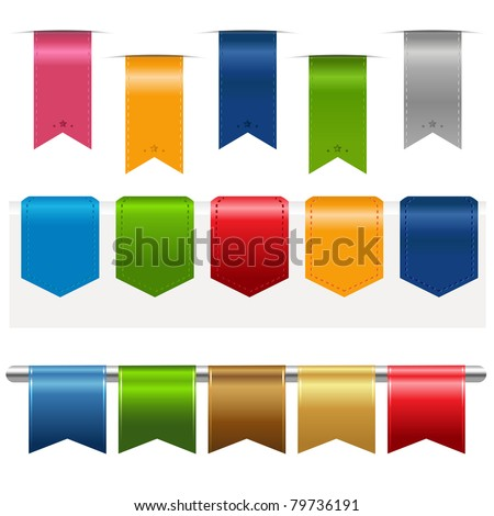 Big Ribbons Set, Isolated On White Background, Vector Illustration - stock vector