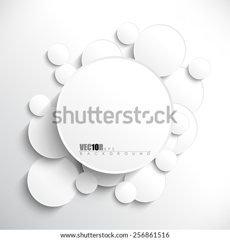 Big round white blank frame in the middle of overlapping circles with shadow eps10 vector background - stock vector