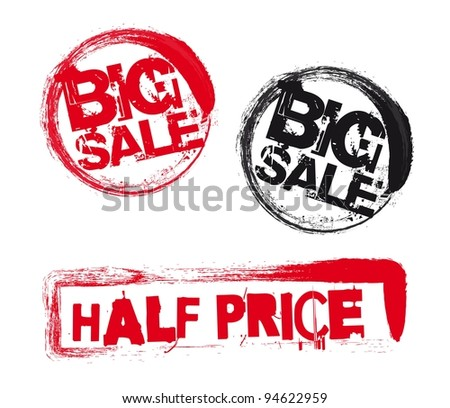 big sale and half price stamp isolated over white background. vector - stock vector